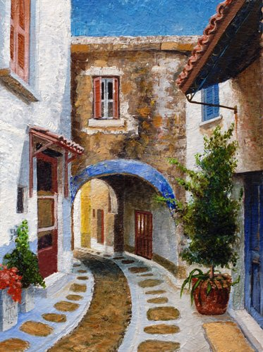 quadros-de-paisagens - Quadro -Lefkimi, Corfu, 2006 (oil on board)- - Neal, Trevor