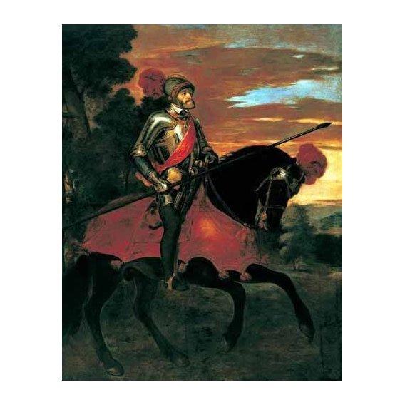 pinturas do retrato - Quadro -Retrato ecuestre de Carlos V en Mühlberg-
