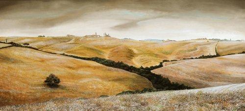 quadros-de-paisagens - Quadro -Farm on Hill, Tuscany, 2001 - - Neal, Trevor