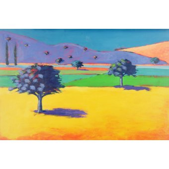 quadros de paisagens - Quadro - Castlemorton (acrylic on card) - - Powis, Paul