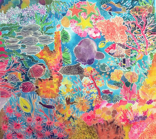 quadros-para-sala - Quadro - Tropical Coral, 1993 (coloured ink on silk) - - Simon, Hilary