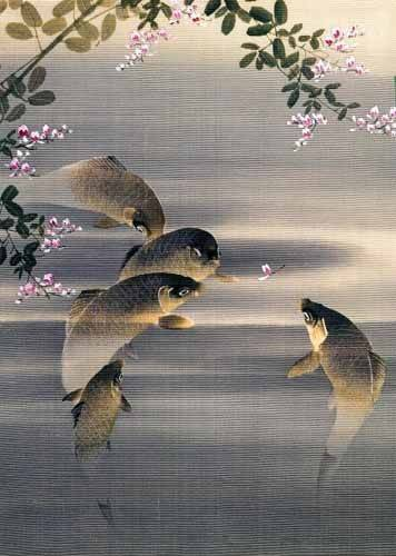 ethnic and oriental paintings - Picture -Peces- - _Anónimo Japones