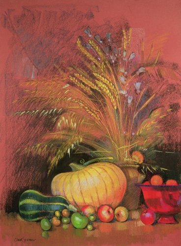 naturezas-mortas - Quadro - Autumn Harvest (pastel on paper) - - Spencer, Claire