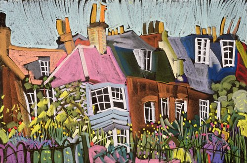 quadros-de-paisagens - Quadro - Relaxing in the Herb Garden, Greenwich Park, London (pastel on paper) - - Treanor, Frances