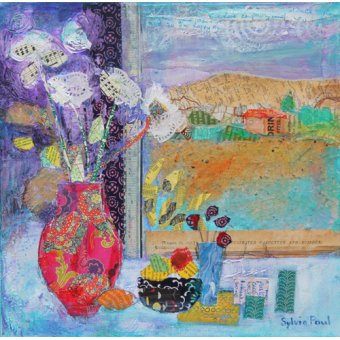 Quadros modernos - Quadro - Flowers in the Window 2014, acrylic.paper collage- - Paul, Sylvia