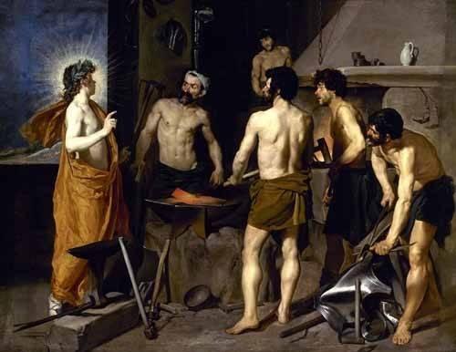 pinturas-de-retratos - Quadro -La fragua de Vulcano- - Velazquez, Diego de Silva
