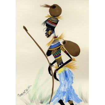 quadros étnicos e orientais - Quadro -Going for a hunt 1, 2008- - Perrin, Oglafa Ebitari