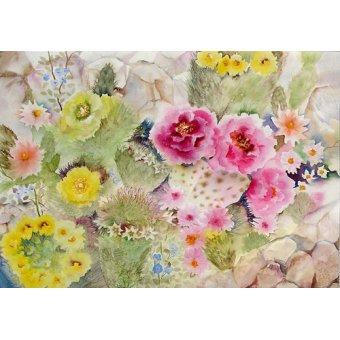 quadros de flores - Quadro - Blooming Cacti- - Pushparaj, Neela