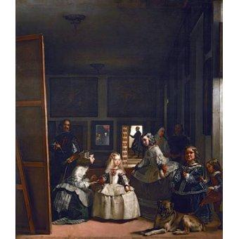 pinturas de retratos - Quadro -Las meninas, familia de Felipe IV- - Velazquez, Diego de Silva