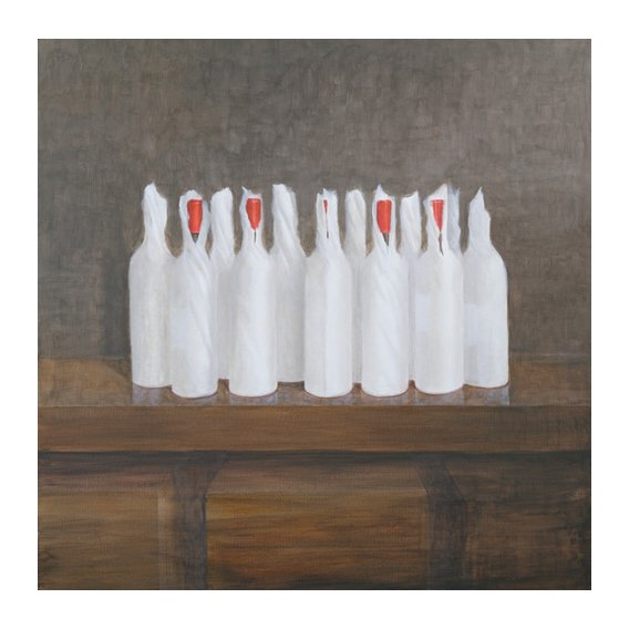 Quadro -Bottles in paper, 2005-