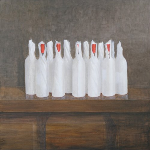 Quadro -Bottles in paper, 2005-