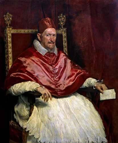 pinturas-de-retratos - Quadro -Retrato del Papa Inocencio- - Velazquez, Diego de Silva
