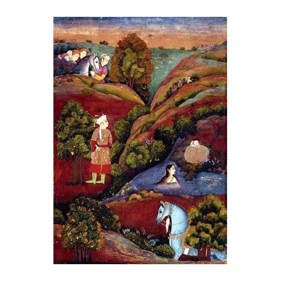 ethnic and oriental paintings - Picture -Mujer bañandose en el rio-