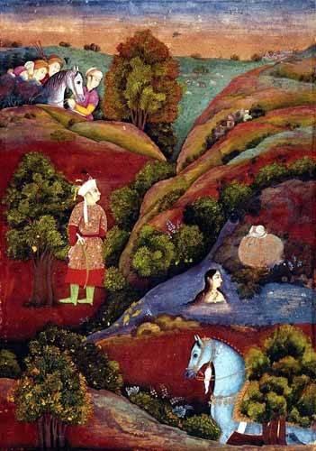 quadros étnicos e orientais - Quadro -Mujer bañandose en el rio- - _Anónimo Persa