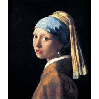 pinturas de retratos - Quadro -Moça com o Brinco de Pérola- - Vermeer, Johannes
