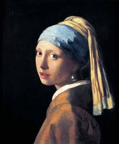 pinturas-de-retratos - Quadro -Moça com o Brinco de Pérola- - Vermeer, Johannes