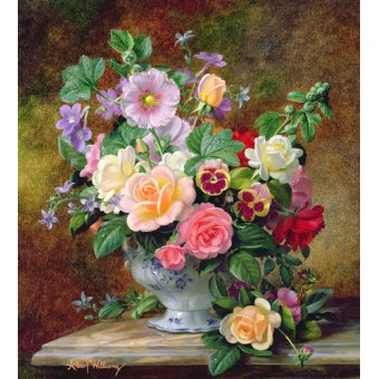 quadros de flores - Quadro - Roses, pansies and other flowers in a vase (oil on canvas) - - Williams, Albert