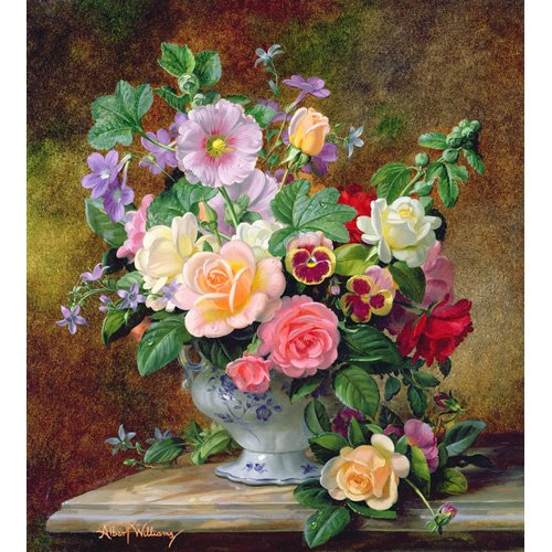 Quadro - Roses, pansies and other flowers in a vase (oil on canvas) -