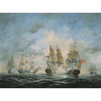 quadros de paisagens marinhas - Quadro - 19th Century Naval Engagement in Home Waters - - Willis, RIchard