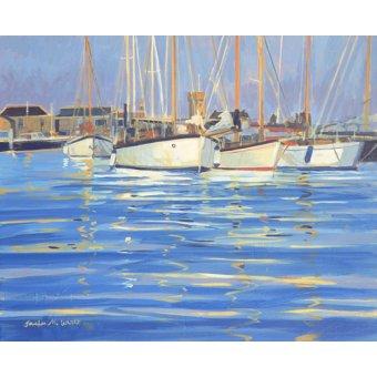 quadros de paisagens marinhas - Quadro - Isle of Wight Old Gaffers, 2000 (oil on board) - - Wright, Jennifer