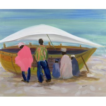 Quadros para sala - Quadro - Boat Mending (oil on canvas) - - Yates, Kate