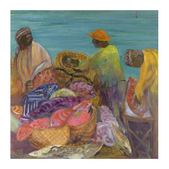 Quadro - Sorting the Catch, Zanzibar (oil on canvas) -