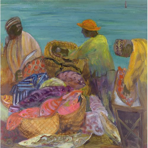 Quadro - Sorting the Catch, Zanzibar (oil on canvas) -