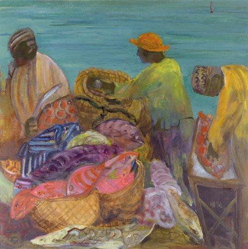 quadros-etnicos-e-orientais - Quadro - Sorting the Catch, Zanzibar (oil on canvas) - - Yates, Kate