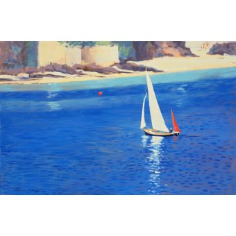 quadros de paisagens marinhas - Quadro - Salcombe - Yawl near Millbay, 1999 (oil on board) - - Wright, Jennifer