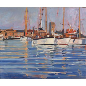 Quadros para sala - Quadro - Isle of Wight - Old Gaffers, 2000 (oil on board) - - Wright, Jennifer