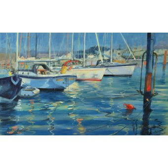 quadros de paisagens marinhas - Quadro - Isle of Wight - Yacht Reflections, 2010 (oil on board) - - Wright, Jennifer