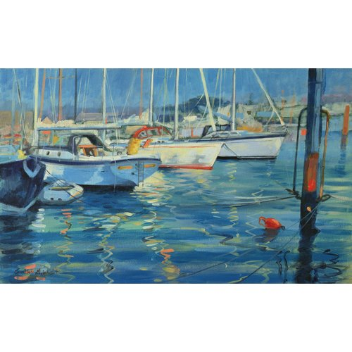 Quadro - Isle of Wight - Yacht Reflections, 2010 (oil on board) -