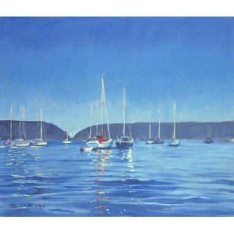 quadros de paisagens marinhas - Quadro - Salcombe - Yachts - Twilight (oil on canvas) - - Wright, Jennifer