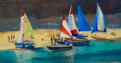 quadros-de-paisagens-marinhas - Quadro -  Salcombe Smalls Cove Dinghies - - Wright, Jennifer