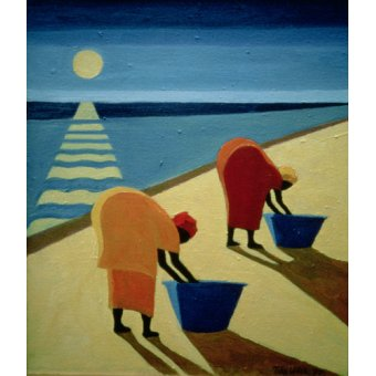 quadros étnicos e orientais - Quadro - Beach Bums, 1997 (oil on canvas) - - Willis, Tilly