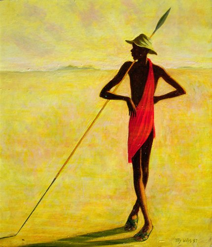 quadros-etnicos-e-orientais - Quadro - Watching, 1992 (oil on canvas) - - Willis, Tilly