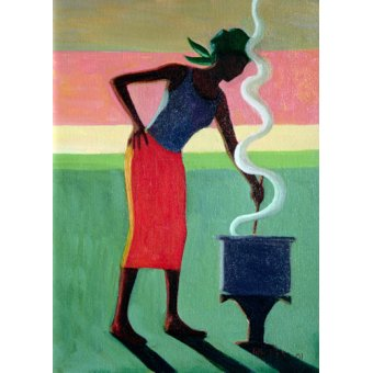 quadros étnicos e orientais - Quadro - Cooking Rice, 2001 (oil on canvas) - - Willis, Tilly