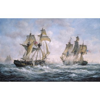 quadros de paisagens marinhas - Quadro - Action Between U.S. Sloop-of-War Wasp and H.M. Brig-of-War Frolic, 1812 - - Willis, RIchard
