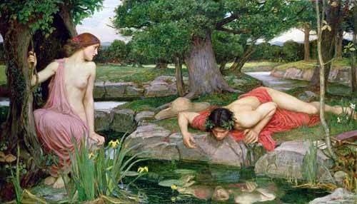 pinturas-de-retratos - Quadro -Eco y Narciso- - Waterhouse, John William
