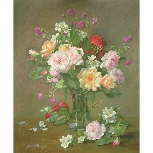 Quadro - Roses and Gardenias in a glass vase (oil on canvas) -