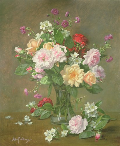 quadros-de-flores - Quadro - Roses and Gardenias in a glass vase (oil on canvas) - - Williams, Albert