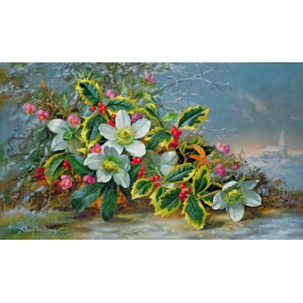 quadros de flores - Quadro - Winter roses in a landscape - - Williams, Albert