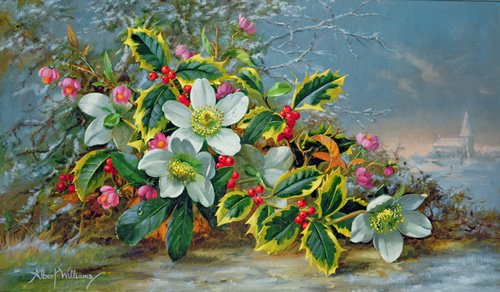 quadros-de-flores - Quadro - Winter roses in a landscape - - Williams, Albert