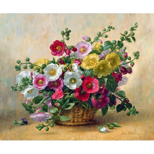 Quadro - AB230 Hollyhocks in a Basket -