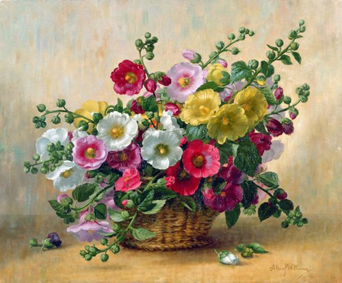 quadros-de-flores - Quadro - AB230 Hollyhocks in a Basket - - Williams, Albert