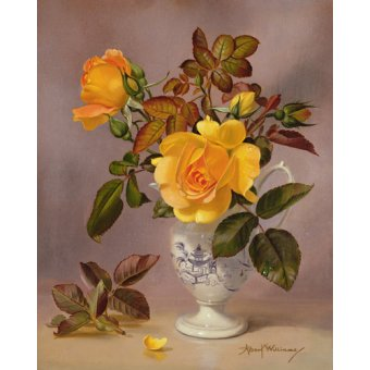 quadros de flores - Quadro - Orange Roses in a blue and white jug (oil on canvas) - - Williams, Albert