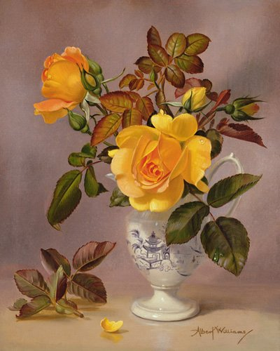 quadros-de-flores - Quadro - Orange Roses in a blue and white jug (oil on canvas) - - Williams, Albert