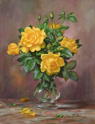 quadros-de-flores - Quadro - AB.303 Radiant Yellow Roses - - Williams, Albert