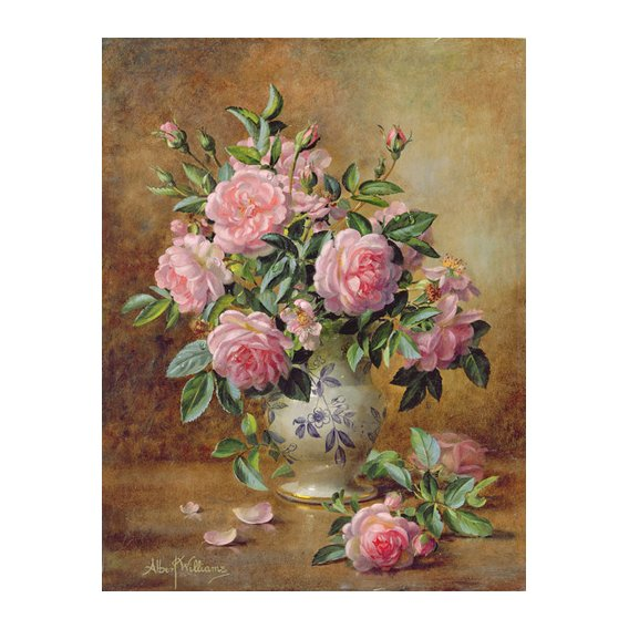 Quadro - A Medley of Pink Roses (oil on canvas) -