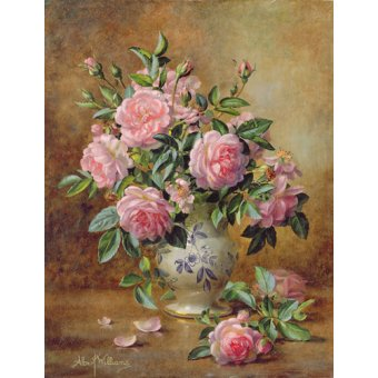 quadros de flores - Quadro - A Medley of Pink Roses (oil on canvas) - - Williams, Albert